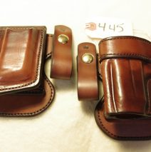 leather LEC Paddle holster and mag set for a Kahr K9, left-handed